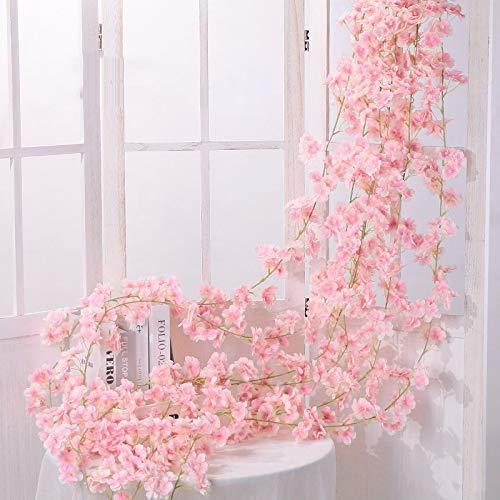 Shiwaki 2PCS 180cm / 70inch Flor Artificial Flor de Cerezo ratán Boda Flor de Cerezo Cuerda de ratán decoración Colgante Flor Decorativa Flor de Cerezo ratán-Rosa Claro