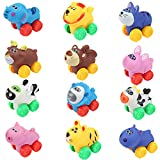 Liberty Imports 12 Pack Soft Rubber Baby Toy Cars in Bucket - Cartoon Animal Vehicles Push and Go with Wheels for Babies, Toddlers and Kids (1 Dozen)