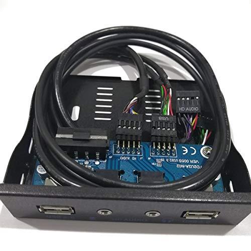AstriuK 3.5 '' 2-USB 2.0 HUB Salida de Audio HD Expansión de la Unidad de Disquete Panel Frontal Rack móvil Digital Que se expande para su PC