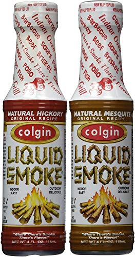 Bundle - 2 Items: Colgin Gourmet Liquid Smoke - Natural Mesquite and Natural Hickory Flavors (4 oz each)