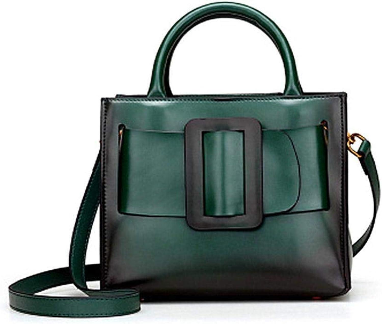 Ladies Handbag Leather Female Bag TwoLayer Cow Bag Single Shoulder Bag Oblique Span Package (color   D)