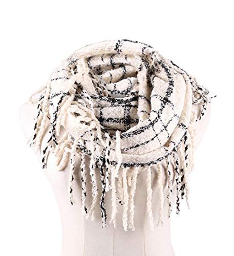 Womens Winter Plaid Infinity Scarf Warm Tassel Circle Loop Scarves & Knit Fall Scarfs for Women(02 Beige)