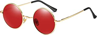 Kennifer Lunettes de soleil classiques rondes polarisées UV400 avec monture en métal vintage style Lennon pour homme et fe...