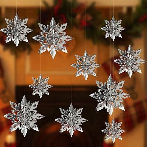 Alagirls 18 guirnaldas de copos de nieve en 3D para colgar, decoración de Navidad para cumpleaños, fiestas, escaparates, invierno, plata ALA-XMAS001-Silver