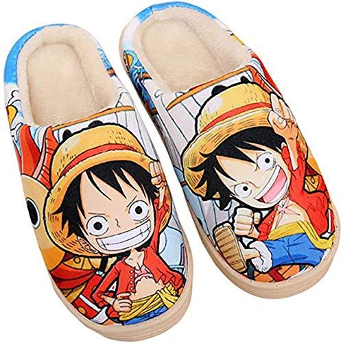 Zapatillas Casa Estar Mujeres Hombres Invierno Cálido Pantuflas de Monkey D. Luffy One Piece Lindo Slippers de Interior Zapatos Antideslizantes,38/40 EU