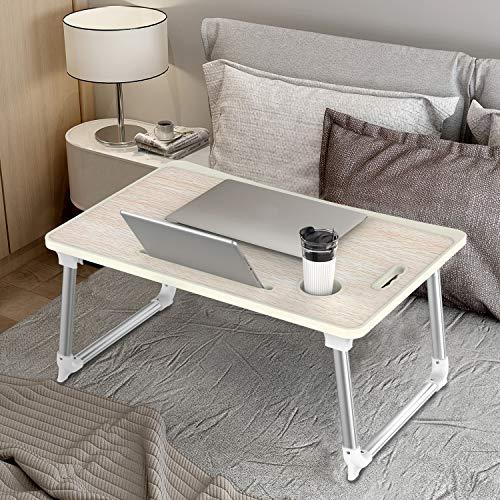 Mesa para Ordenador Portátil, Portátil Mesa Cama Plegable Mesa Escritorio Plegable con Portavasos/Soporte para Tableta/Manija (65 * 45 cm, Roble Amarillo)
