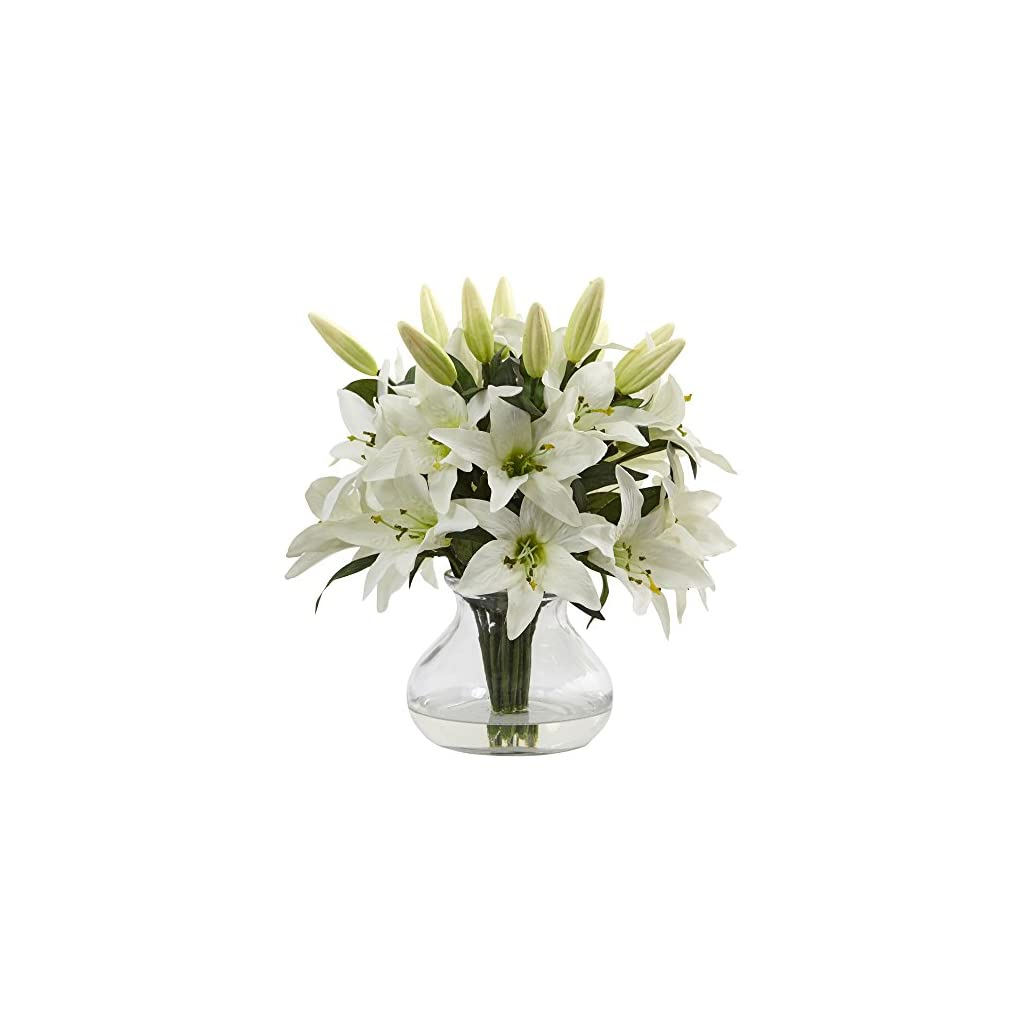 """Nearly Natural 1434 Lily Silk Arrangement with Glass Vase,White,17.25"""" x 7"""" x 7"""""""