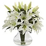 Nearly-Natural-1434-Lily-Silk-Arrangement-with-Glass-VaseWhite1725-x-7-x-7