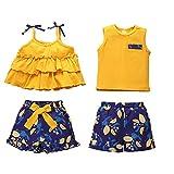 Toddler Baby Boy Girl Brother and Sister Matching Outfits Ruffle Sleeveless Tank Top + Printed Shorts Set 2Pcs Summer Clothes (Yellow Bowknot, 2-3 Years)