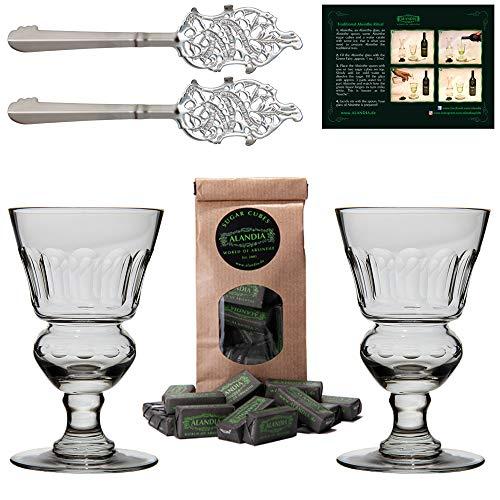 ALANDIA Absinth-Zubehör Set Premium | 2X Handgemachte Absinth-Gläser | 2X Absinth-Löffel | 1X Absinth-Zuckerwürfel