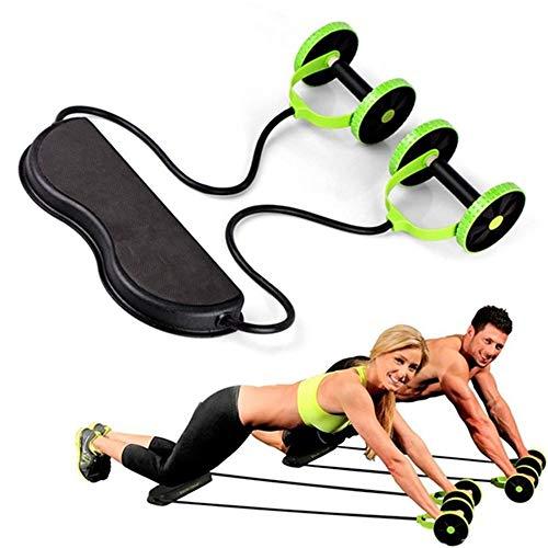Máquina de entrenamiento de potencia de cuerpo completo - Máquina de entrenamiento en casa con banda de resistencia, Ruedas AB Estiramiento con rodillo Resistencia abdominal elástica Herramienta