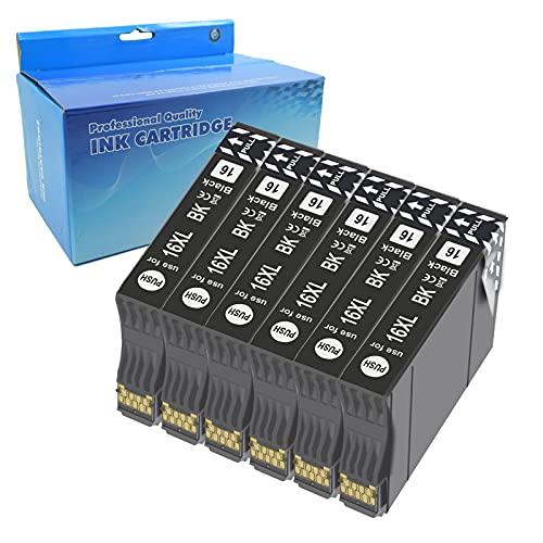 Teng 6negro 16XL Cartuchos de Tinta Compatible con Epson 16 para Epson Workforce WF-2630WF WF-2630 WF-2510 WF-2530 WF-2650 WF-2750 WF-2760 WF-2010 WF-2540 WF-2660 WF-2520