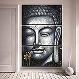 Pinturas En Lienzo Para La Sala De Estar Arte De La Pared Impresiones En Hd 3 Piezas Gris Zen Buda Posters Imágenes Abstractas Budistas Decoración Para El Hogar, 60X80