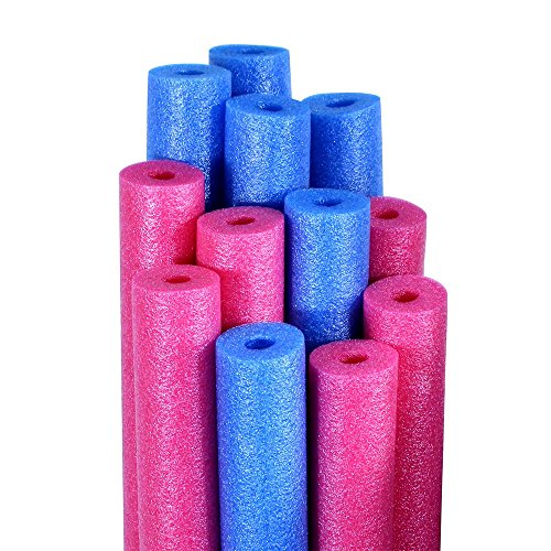 Pool Mate Premium Swimming Pool Noodles, Blue and Pink 12-Pack