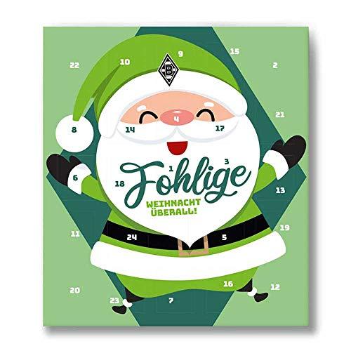 Premium Schoko-Adventskalender – Der lustige Weihnachts-Countdown bis Heilig Abend aus Fairtrade-Kakao + Mannschaftsposter/Fanposter + Fanshop-Gutschein (200 g) (Borussia Mönchengladbach)