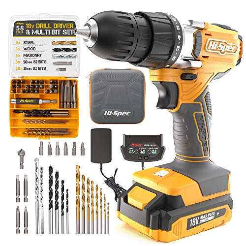 Hi-Spec 58 Piece 18V Drill Driver & Multi Bit Set. DIY Cordless Screw & Drilling Power Tool with S2 Steel Bit Set for Metal, Wood & Masonry. All in a Storage Zipper Case
