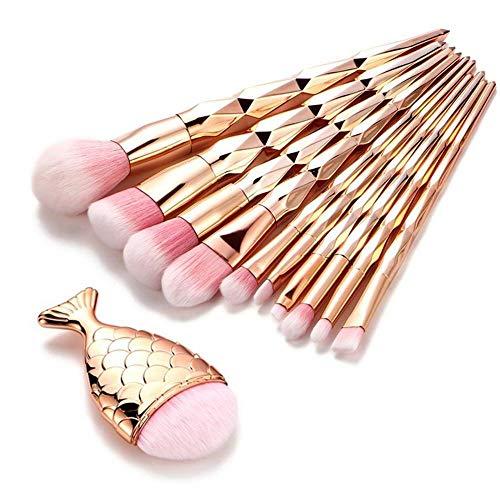 MEISINI Pinceaux de maquillage mis en forme de queue de poisson en poudre Fondation Cosmétiques Pinceau Rainbow Eyeshadow Pinceau Kit, 11 Pcs