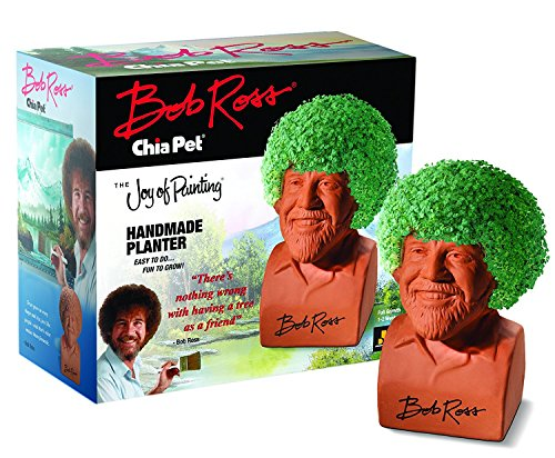 Chia Pet Bob Ross with Seed Pack, Decorative Pottery Planter, Easy to Do and Fun to Grow, Novelty...