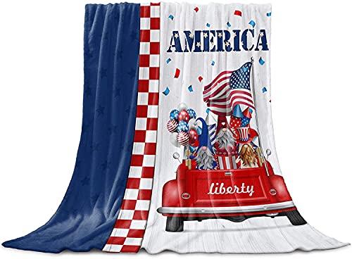 BONRI Manta de franela de forro polar con diseño de bandera americana de Gnomos, manta ligera para mujeres/niños/niñas, color rojo, blanco, azul a cuadros, 127 x 152 cm