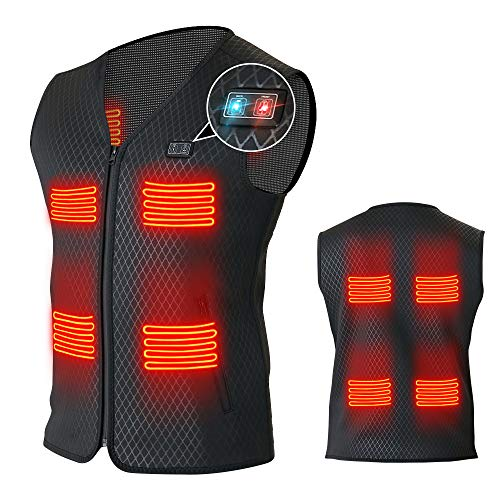 Heated Vest for Men Women with 8 heating panels-Not Included Power Bank Battery