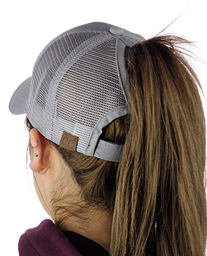 C.C Ponycap Messy High Bun Ponytail Adjustable Mesh Trucker Baseball Cap Hat, Gray