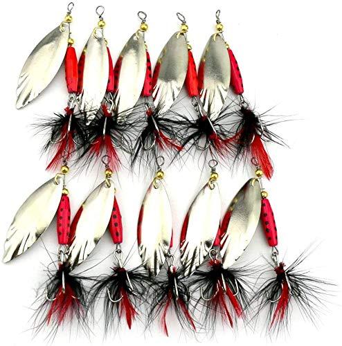 TUXIBIN 10 señuelos de pesca de metal Spinnerbait Cuchara Set con caja de cebo de pesca, trucha, bajo, salmón, lucio Walleye Perch TXB-03R