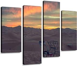 لوحة فنية جدارية مطبوعة بعنوان Camping on the middle of the desert Chair Canvas Art صور مطبوعة مؤطرة رقمية تجريدية لغرفة ا...
