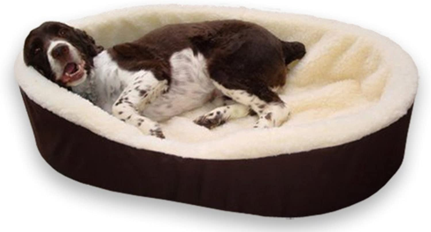 Dog Bed King USA Extra Large Imitation Lambswool Dog Bed, 42Inch by 32Inch by 7Inch, Brown