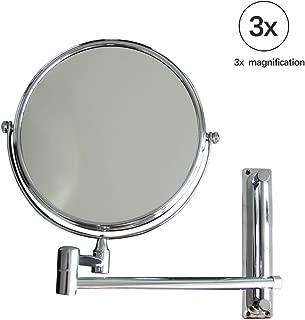 "BOLEN Wall Mounted Makeup Mirror 3X Magnified 6""Swivel Extendable Bathroom Mirror Vanity Mirror Stainless Iron"