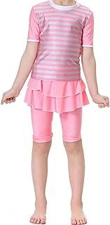 Kid's Short Sleeve Swimsuit Muslim Islamic Two Piece Modest Swimwear