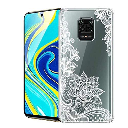 ZhuoFan Funda para Xiaomi Redmi Note 9 Pro, Cárcasa Silicona Transparente con Dibujos Diseño Suave TPU Antigolpes de Protector Piel Case Fundas para Movil Redmi Note 9 Pro / 9S, Flor Blanca