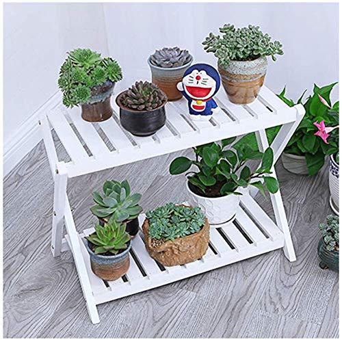 YXB Bloemenstandaard Bloemenladder, vitrine, houten indoor-plantenstandaard, balkonbloembak, met 2 banden, wit (afmetingen: 60x32x59cm)