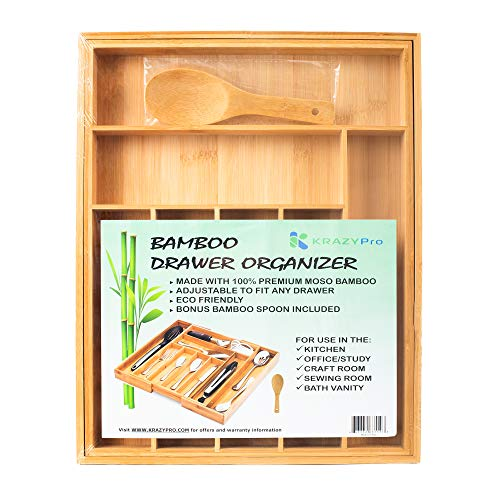 Bamboo Kitchen Drawer Organizer - LARGE Expandable Utensil Holder 100 Bamboo - Home Organization and Storage for Kitchen Gadgets Silverware Cutlery Accessories Desk Craft Makeup Vanity Organizers