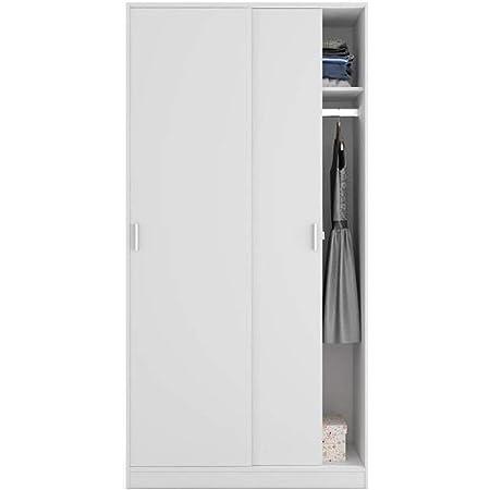 PEGANE Armoire avec 2 Portes Coulissantes Coloris Blanc - Dim : L 100 cm x H 200 x P 50 cm