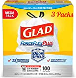 Clorox Commercial Solutions Glad ForceFlex Tall Kitchen Drawstring Trash Bags - Unscented - 13 Gallon - 100 Count (Pack of 3)