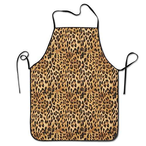 Not Applicable Leopardenmuster Tierhaut Digital gedruckte Wild Safari Themed Spotted Pattern Art Schürze für Küche BBQ Barbecue Cooking Chef Geschenk für Frauen/Männer