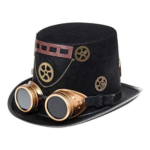 Nemesis Now Sombrero de Copa Steampunk con Gafas Goggles - Negro