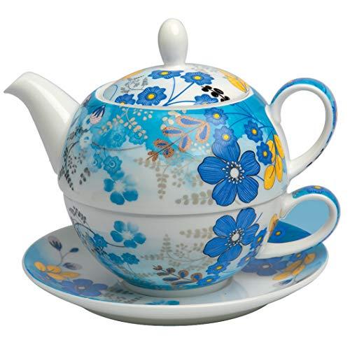 TeaLogic Tea for one Nicole - Set aus Tasse (250ml) und Teekanne (500ml) Tea-for-One mit Blumen Motiv - Tea Logic Becher Bone China I blau und weiß