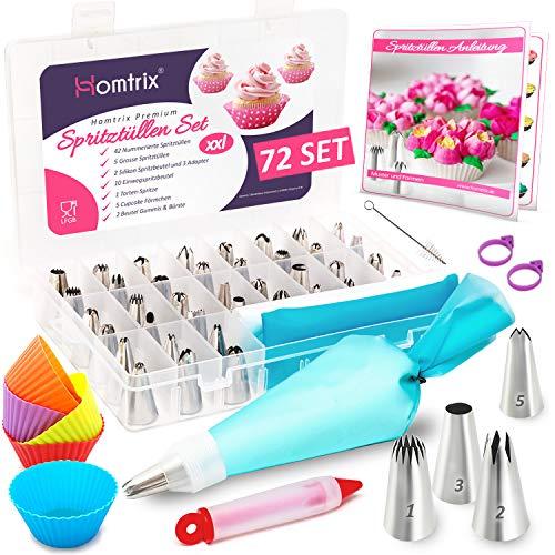 Homtrix 72-Teiliges Spritztüllen Set, 2 Spritzbeutel Silikon mit 47 Nummerierte Edelstahl Tüllen, Cupcake Förmchen, 10 Einwegspritzbeutel, Tortenspritze + Broschüre
