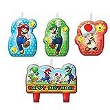 CAPRILO Lote de 4 Velas Infantiles Decorativas Super Mario Bros Happy Birthday Juguetes y Regalos Fiestas de Cumpleaños, Bodas, Bautizos, Comuniones y Eventos.Decoración Original.