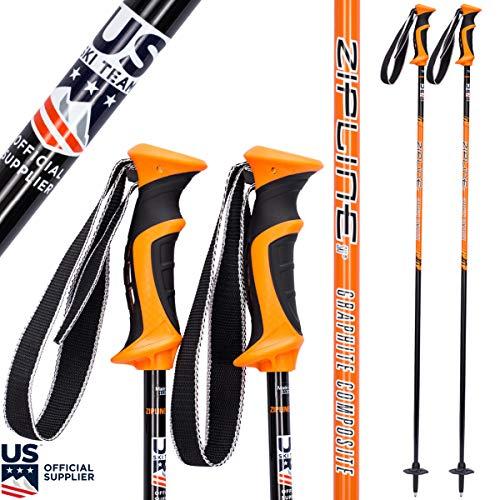 Ski Poles Graphite Carbon Composite - Zipline Lollipop U.S. Ski Team Official Supplier (Orange, 48