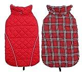 Geyecete Manteau d'hiver Confortable Coupe-Vent réversible pour Chien Motif écossais
