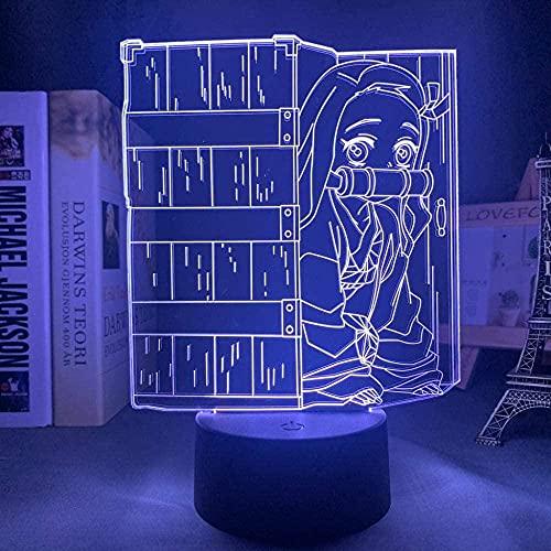 3D Night Light Anime Demon Abogados Kimetsu No Yaiba Neozo Kamado LED Lámpara de ilusión con control remoto Dormitorio Decoración Cómics Tabla Lampe Regalos de cumpleaños