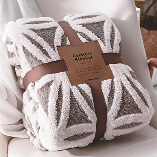 LOMAO Sherpa Fleece Blanket Fuzzy Soft Bed Blanket Dual Sided Throw Blanket fit Couch Sofa (Grey,51x63)