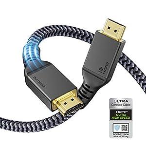 [Zertifiziertes HDMI 2.1-Kabel]: Das zertifizierte, aktualisierte HDMI 2.1-Kabel mit einer Bandbreite von 48 Gbit / s, unterstützt eine Auflösung von bis zu 7680 x 4320, eine Bildwiederholfrequenz von bis zu 8 K bei 60 Hz, 4 K bei 120 Hz, eine Übertr...