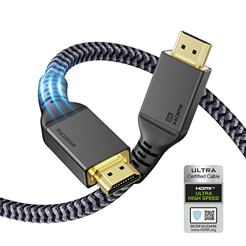 Maxonar 8K HDMI 2.1-Kabel 5m, (Zertifiziert) Ultra HD 48Gbit/s Hochgeschwindigkeit 8K60 4K120 eARC HDR10 4: 4: 4 HDCP 2.2 & 2.3 Dolby Kompatibel mit/PS5,Xbox-Serie X/Roku/Fire/Sony/LG-Fernseher