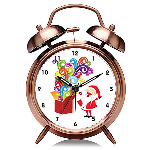 Reloj de Navidad retro de cobre silencioso con luz de noche doble campana despertador 321. Lindo Papá Noel y caja de regalo personalizado reloj despertador de Navidad