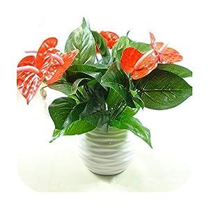 F-pump 1Bunch Artificial Flower Fake Anthurium Bouquet Green Radish Anthurium Wedding Arrangement Christmas Home Decoration