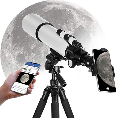 OYS Telescope for Kids Adults Astronomy Beginners, 80mm Aperture 500mm AZ Mount, Astronomical Refractor Travel Telescope with Tripod and Phone Adapter to Observe Moon and Planet
