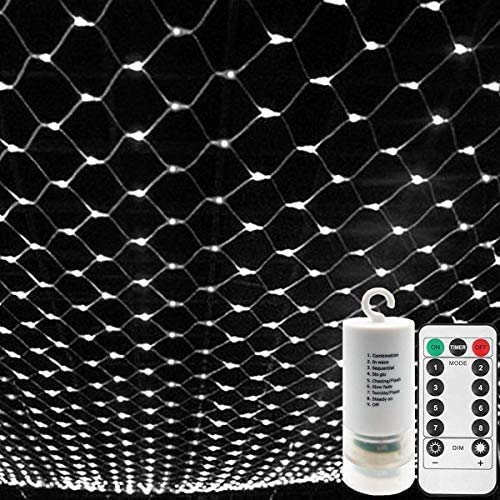 CCILAND [Remote,Timer] Battery Net Mesh Fairy Lights Curtain/Window Lights String Outdoor Waterproof,Dimmable,8Modes, Ceiling Bedroom Backyard Patio Wedding Party Decor(3m*2m 200leds,White)
